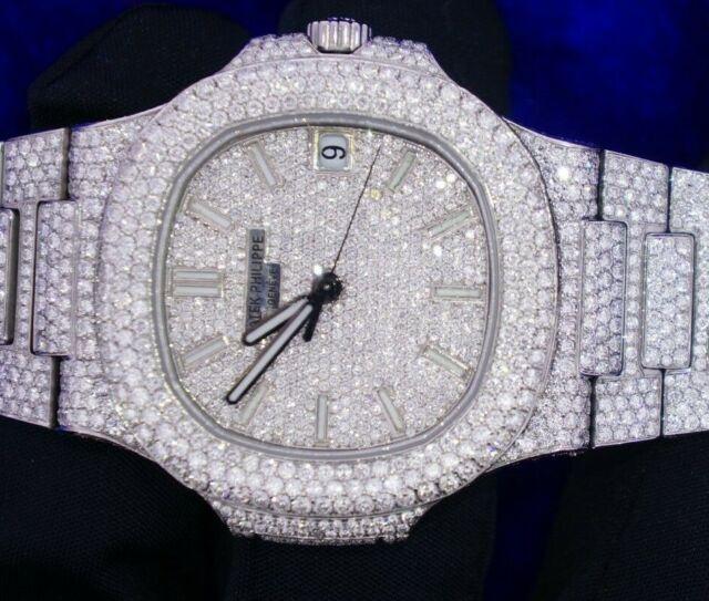 Patek Philippe Mens Nautilus 5711 1A Set Pave Set VVS Diamond Watch 26.5 Ct