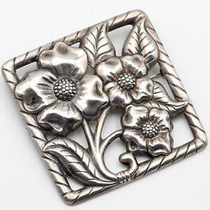 VTG-Mid-Century-Sterling-Silver-Flower-Floral-Flora-Brooch-Pin-3-034-Sq-21-8-gr