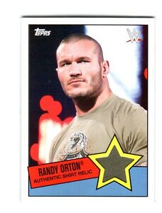 WWE-Randy-Orton-2015-Topps-Heritage-Event-Used-Shirt-Relic-Card