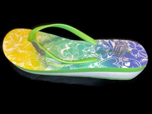 Ed Hardy Flip Flops Platform Rubber Thong Sandals