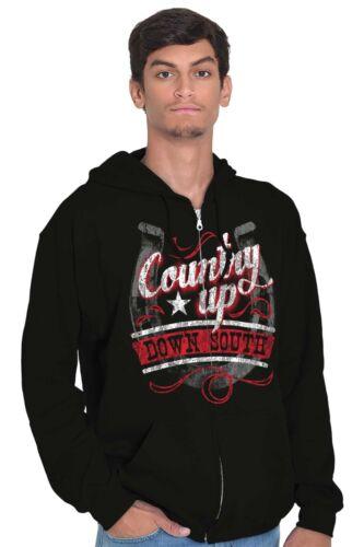 Country Up Down Cowgirl Horse Rodeo Cowboy Zipper Sweat Shirt Zip Sweatshirt