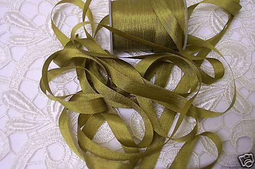 """100/%SILK EMBROIDERY RIBBON 1//4/"""" G.OLIVE 10 YDS 7 MM"""