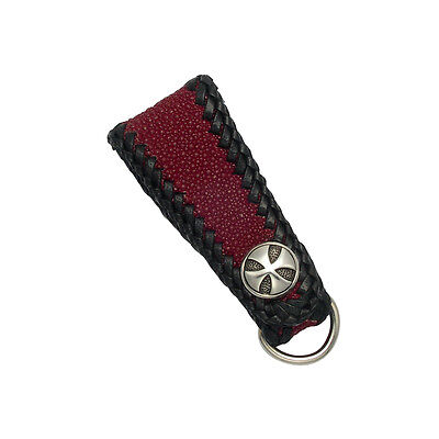 Genuine stingray and leather lace keychain in black hand laced