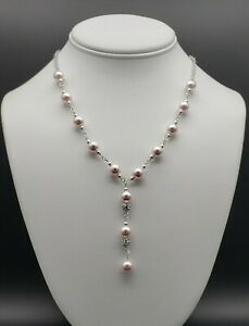 Swarovski-Crystal-Pearl-Station-Necklace-Lariat-Pink-Solid-925-Beautiful