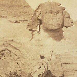 Great Sphinx Pyramid of Chefren Khafre Chephren Egypt 1896 Photo Stereoview G56