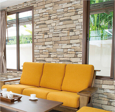 Natural Stacked Stone Brick 3m * Self Adhesive Sheet Peel-Stick Wallpaper H608