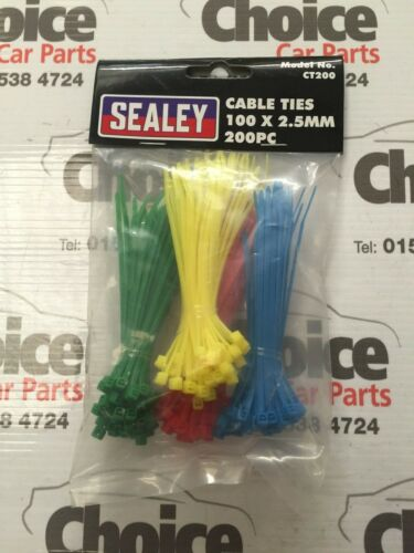 200 X Sealey fascette 100 x 2,5 mm BLU VERDE GIALLO ROSSO