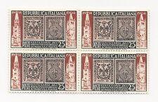 1952 ITALIA REPUBBLICA Modena e Parma centenario francob. 25L in quartina nuovi