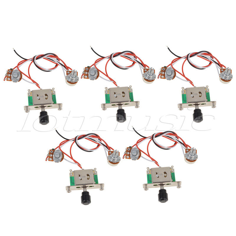 5pcs prewired guitar wiring harness 250k pots 3 way switch. Black Bedroom Furniture Sets. Home Design Ideas