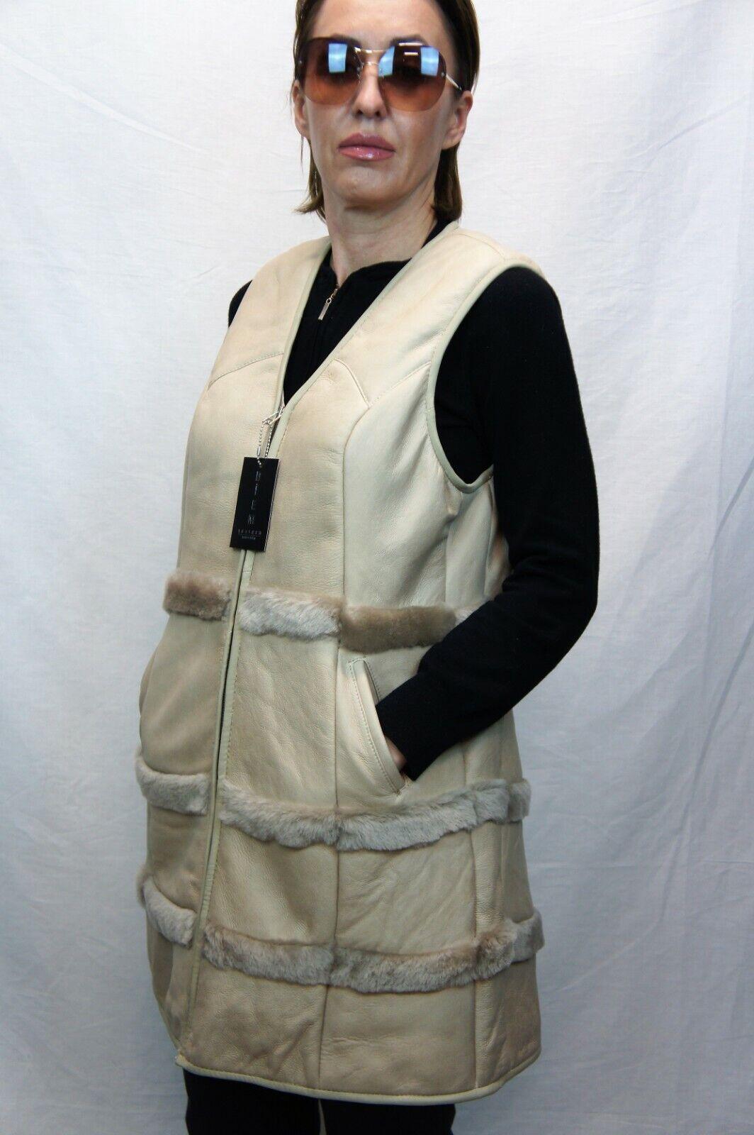 NEW Light Tan Women 100% GENUINE SHEEPSKIN SHEARLING LEATHER Vest Coat S-6XL