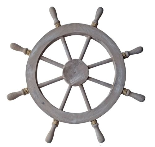 """29/""""H Whitewash Wood Steering Wheel with Rope Nautical Tropical Home Decor Ship"""