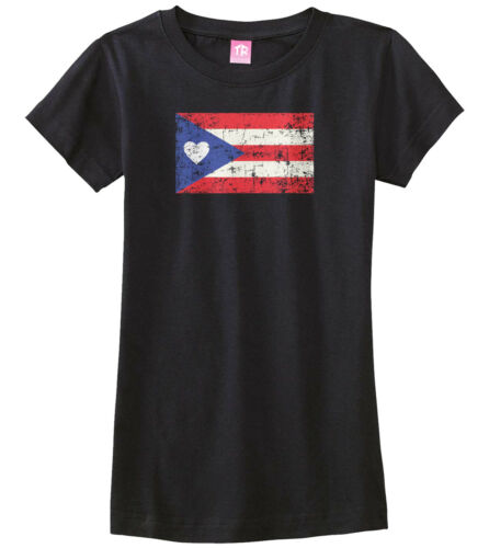 Puerto Rico Flag With Heart Girls Fitted T-Shirt Proud Puerto Rican Gift