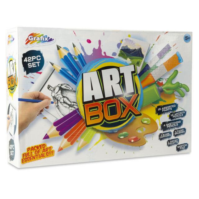42 Pieces Grafix Art Box Full Of Art Essentials Ideal Xmas Gift For Kids