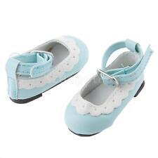 Scallop Trim Ankle Strap Shoes for 1/4 BJD Doll AOD Luts DOD MSD Light Blue
