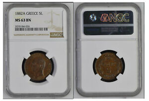63-NGC-5-Lepta-1882-A-King-George-I-Kindgom-of-Greece-Coin-54-Auction-From-1