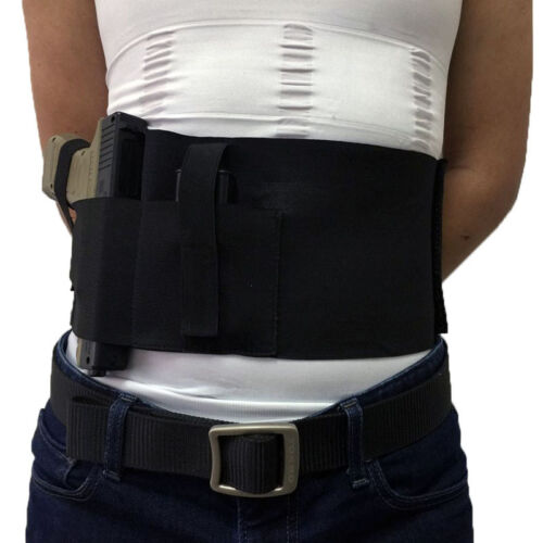 Tactical Right Left Hand Universal Concealed Carry Belly Band Pistol Holster BLK