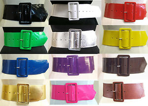 Ladies-Girls-Leather-Look-Retro-Wide-Shiny-PVC-Cinch-Waist-Belt