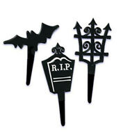 Halloween R.i.p. Graveyard Cupcake Picks Cake Toppers Decorations Tombstones 24