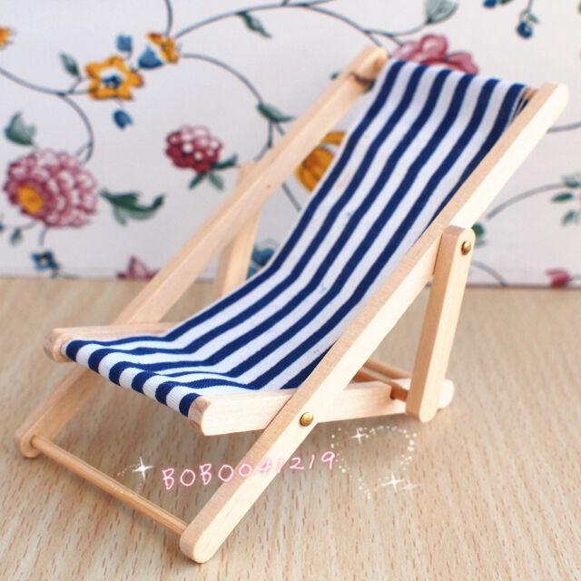 Dollhouse Miniature 1:12 Toy Wooden Garden Long Chair Length 10.5cm J11