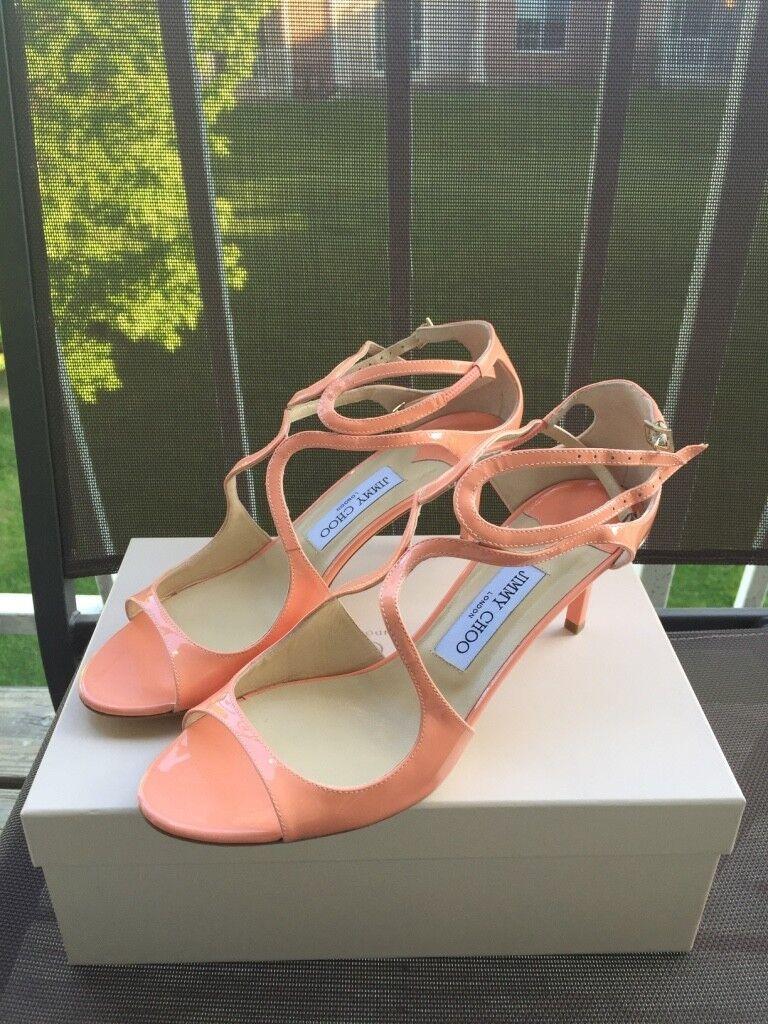 NIB Jimmy Choo Peach Patent Leather Stap Sandal Pump 40 / 10