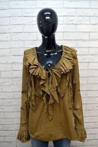 Maglia-DONDUP-Donna-Taglia-L-Maglietta-Shirt-Cotone-Manica-Lunga-Polo-Woman
