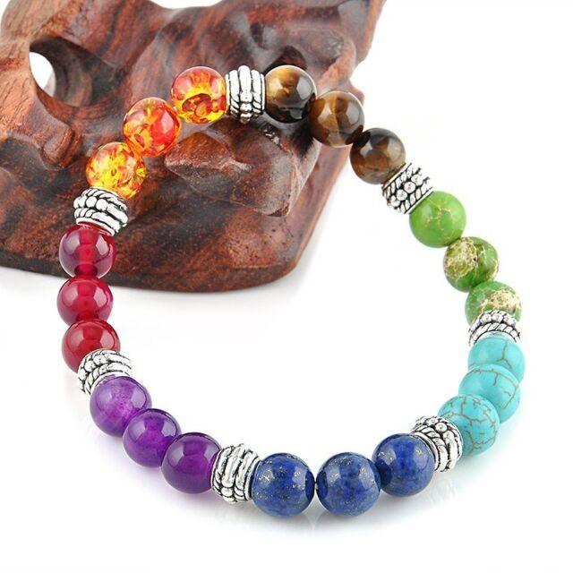 7 Chakra Healing Balance Prayer Beaded Bracelet Lava Yoga Reiki Stones Xmas /LE