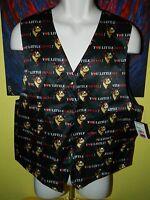 Vintage 1996 Looney Tunes Mania Taz Tazmanian Devil 100% Silk Vest Size Medium