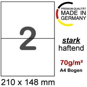 200 Etiketten DIN A5 210x148,5 auf 100 Blatt Papier DIN A4 210x297 selbstklebend