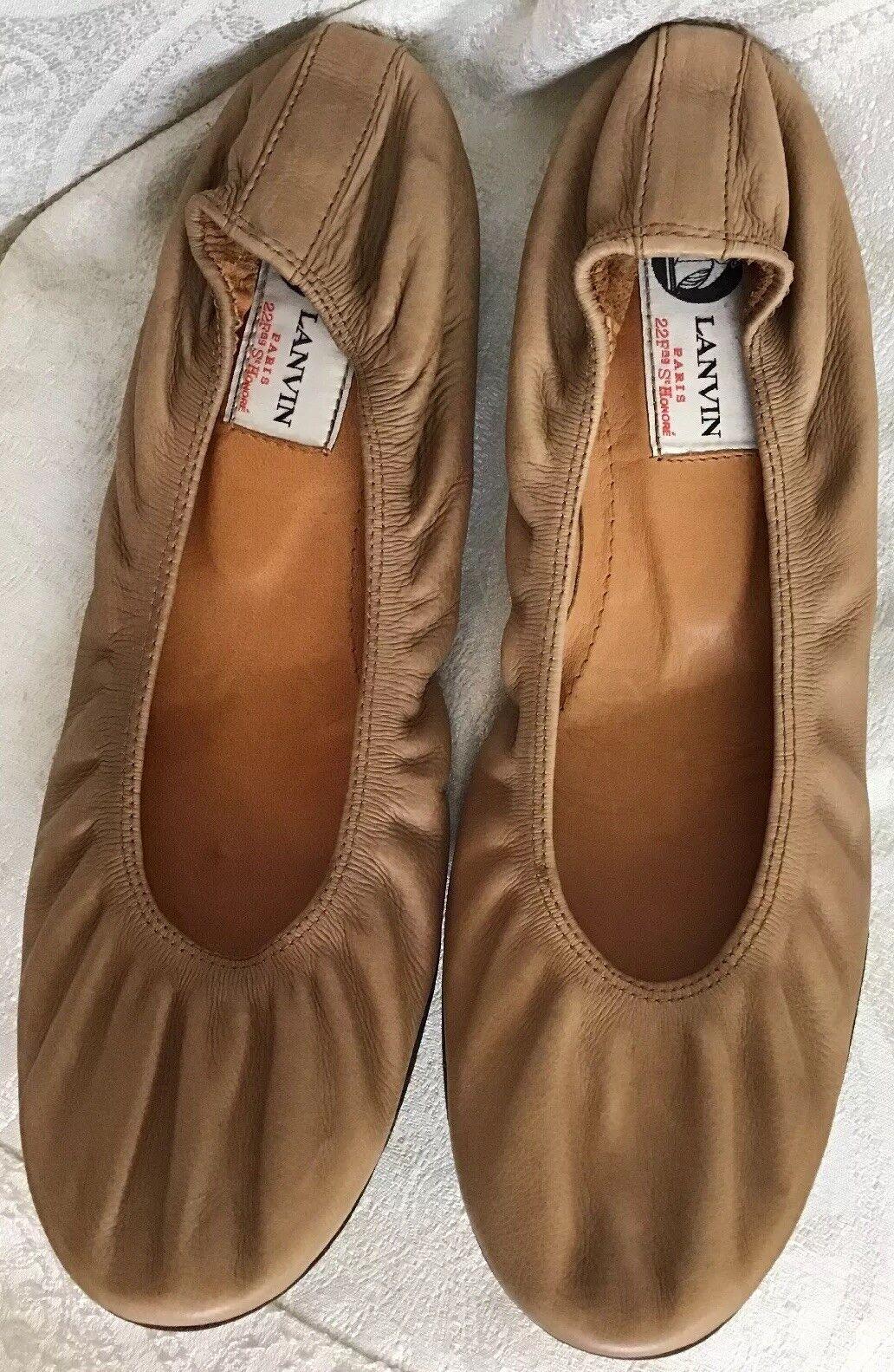 Lanvin Lanvin Lanvin shoes Beige Leather Ballerina Flat Size 40 Fits Size 8 1 2 To 9 7dc695