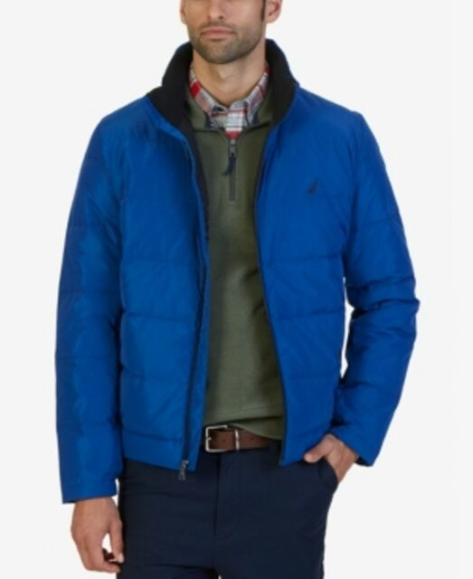 27824f0bd Nautica Solid Blue Mens Size 2xl Full-zip Quilted Puffer Jacket #021