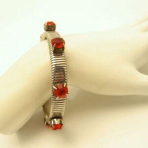 KIRKS-FOLLY-Mid-Century-Vintage-Bracelet-Large-Orange-Rhinestones-Flex-Bangle