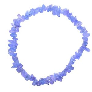 Premium-CHARGED-Tanzanite-Crystal-Chip-Stretchy-Bracelet-Healing-Energy-40Carats