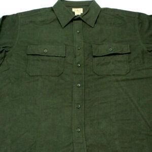 LL-Bean-mens-Long-Sleeve-Chamois-Cloth-Shirt-Heavy-Flannel-Dark-Green-large-Nice