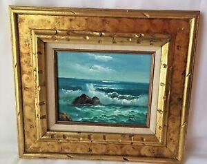 Vintage-Original-Poonil-Signed-Oil-On-Canvas-Painting-Ocean-Beach-Surf-8-X-10