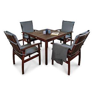 gartenm bel garnitur set mit sitzkissen 9tlg sitzgruppe garten essgruppe holz ebay. Black Bedroom Furniture Sets. Home Design Ideas