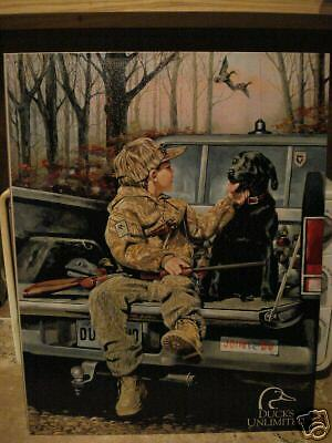 Ducks Unlimited Boy and Black Lab New Tin Sign