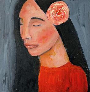 Original Portrait Painting 6x6 Meditating Woman Portrait Art Katie Jeanne Wood