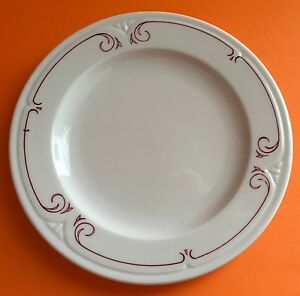 Syracuse China Company Restaurant Ware Melrose Red Pink Scroll Line