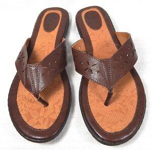 ae0b2ee0b3c BOC Born Concept Women s Thong Sandals Flip Flops 10 M Brown Leather ...