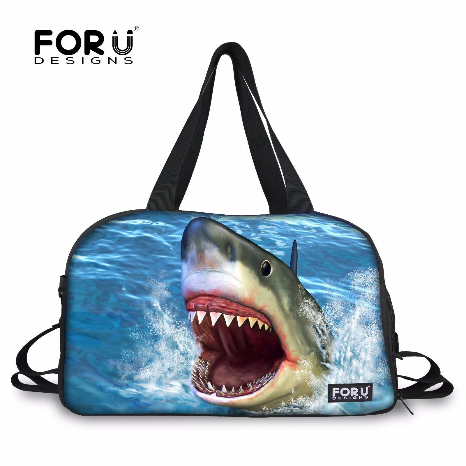 Animal Shark Duffle Sport Tote Yoga Fitness Travel Gym Bag Handbag Women Men