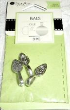 BAILS Blue Moon Beads - GLUE-ON - 25 x 8 mm - Silver Finish - 3 pieces