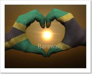 Gesture Made By Jamaica Flag Art Print Canvas Home Decor Wall Art