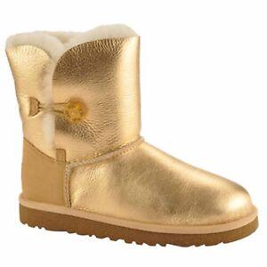 405ee5c4b3a Details about Ugg Australia Kids Bailey Bow Metallic Genuine Sheepskin  Classic Short Boot 4 US