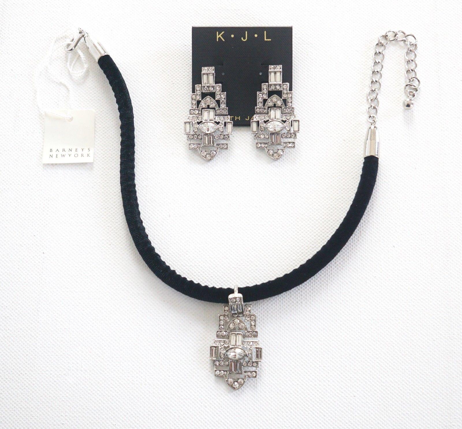 KENNETH JAY LANE ART DECO Rhodium Crystal Chandelier Earrings + Rope Choker Set