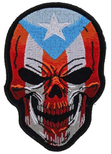 """Skull Puerto Rico Flag Puerto Rican Flag Large Iron On Patch 11/"""" FAST USA SHIP"""