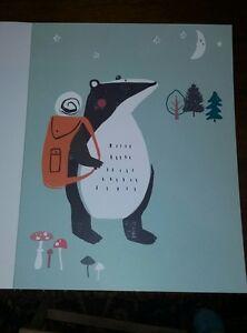 Nursery Decor 11 x 14 Art Print Woodland Friends Badger Adventure Dawn Bishop
