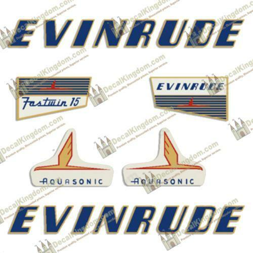 Evinrude 1955 15hp Outboard Decal Kit 3M Marine Grade
