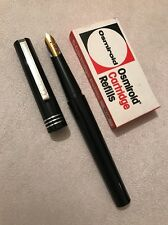 VINTAGE OSMIROID BLACK CT MEDIUM ITALIC FOUNTAIN PEN-ENGLAND-INK REFILLS-EXWO
