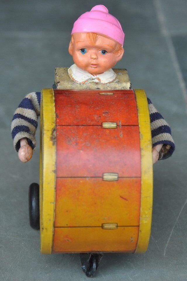 Vintage Wind Up Circus Boy Playing Dram Litho Tin Toy