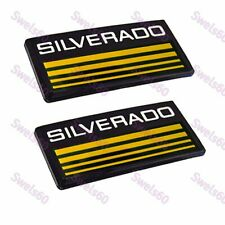 Cab Emblems 3d Badge Side Roof Pillar Decal Plate For Chevy Silverado Yellow X2